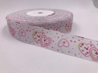 DIY 5 Yard 1''25MM LOVE Printed Grosgrain Ribbon Hair Bow Sewing Crafts Ribbon