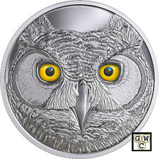 2017 'In The Eyes of The Great Horned Owl' Enameled Prf $15 .9999 Silver (18256)