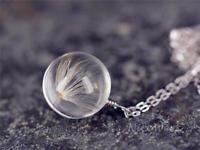 Silberkette mit Anhänger Pusteblume Echt Löwenzahn Glaskugel Halskette Damen