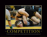 Wrestling Motivational Poster Art Shoes Singlet Head Gear Kids College  MVP151