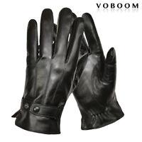 100% Sheepskin Leather Gloves Mens Winter Gloves Windproof Driving Gloves Black