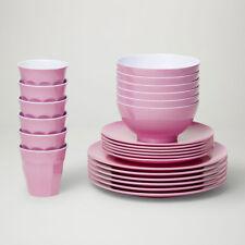 Barel Designs Classic Pink Melamine 48 Piece Dinner Set - Cups, Bowls, Plates