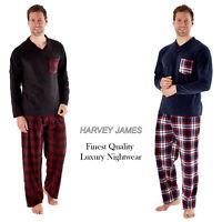 Harvey James Mens Hatty Check Pyjamas V-Neck Soft Fleece Nightwear Lounge Set