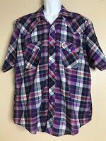 Sir William Men Short Sleeve Size XL Pearl Snap Cowboy Western Shirt