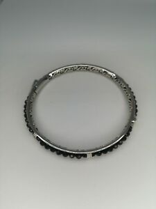 Black Spinel Bangle Bracelet - 7.5 inches