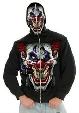 Boy's Evil Clown Hoodie Killer Scary Black Sweatshirt Halloween Child Costume