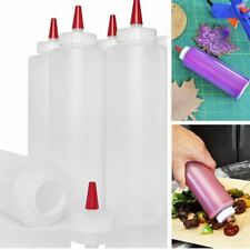 6Pk Easy Squeeze Plastic Condiment Bottles 16oz Food-Grade Dispensers Wide Mouth