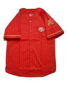New With Defects Vtg  Starter San Francisco 49ers NFL Baseball Jersey Mens Sz L