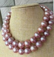 "HUGE 36""14-16mm natural south sea genuine round lavender pearl neklace 522AAA"