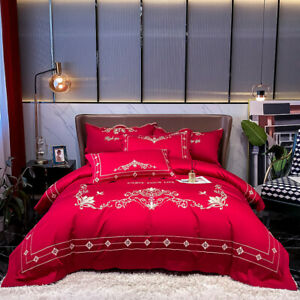 embroidered bedding set 4pcs satin-like natural fiber duvet cover flat sheet new