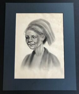 VINTAGE SOUTH ASIAN / VIETNAMESE ORIGINAL CHARCOAL DRAWING ON PAPER WITH SIGNED