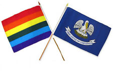 "12x18 12""x18"" Wholesale Combo Rainbow Gay Pride Louisiana State Stick Flag"