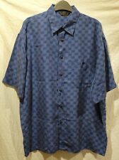 Vintage M&S St Michael Pure Silk Blue Shirt L 44-46 Large Check Short Sleeve 90s