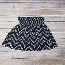 Joe B Womens Black & White Elastic Waist Mini Skirt Size Small