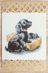 """Vintage Swap / Playing Card """" Sweet Black Dog & Cat """" near Mint Condition"""
