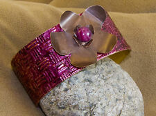 Copper Metal Cuff Bracelet With Pink Star Sapphire And Metal Flower