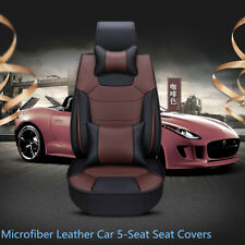 Luxury Microfiber Leather Coffee 5-Seat Auto Car Seat Covers Cushion with Pillow