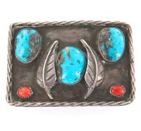 c1950s/60s NATIVE AMERICAN INDIAN NAVAJO S/SILVER, CORAL, TURQUOISE BELT BUCKLE