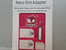 Micro + Nano Sim Card Adaptor Conversion Kit for Apple Iphone 4  4S 5S 6 6s