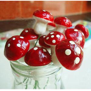 50pcs Mini Red Mushroom for Miniature Plant Pots Fairy Decor Garden Greenhouse