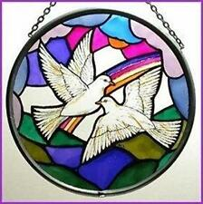 Decorative Winged Heart Hand Painted Stained Glass Roundel - Doves of Peace