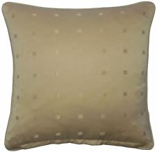 """2 X JACQUARD CHECK LATTE BEIGE 18"""" 45CM PIPED CUSHION COVERS"""