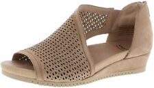 Earth Capricorn Womens Dark Blush Soft Buck Leather Wedge Heel Sandal US 7 B (M)