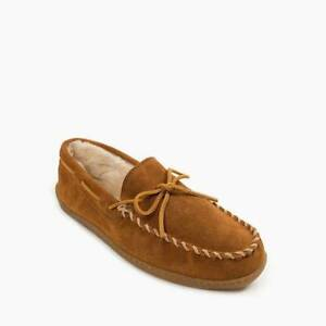 Minnetonka Men's Pile Lined Hardsole Moccasin Suede Slippers 3902 - Brown M/W