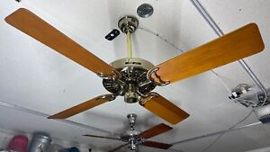 "Hunter Original Cast Iron 52"" Ceiling Fan - USA Made, Brass, ReverseAire - 22274"