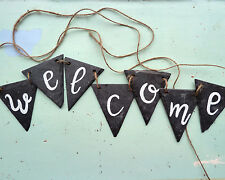 slate welcome bunting, hand painted, hand cut, outdoor decor, new home sign