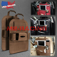 2Pcs Brown Car Seat Back Storage Bag Organizer Pocket Travel iPad iPhone Holder