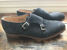 Alfred Sargent for J Crew Double Monk Strap Shoes size 11.5 Navy Suede A1378