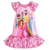 NWT Disney Store Disney Princess Nightgown Nightshirt Sleep Dress Girls 5 6 7 8