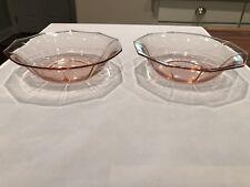 """Antique Set of 2 Pink Depression Vintage Glass 8"""" bowl"""