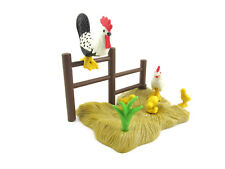 PLAYMOBIL~Chicken~Rooster~3 Chicks~Grass~Fence~Farm~Bird~Zoo~Rural Scene~Diorama