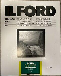 """Ilford Multigrade 8x10"""" FB Fiber Matt darkroom developing paper 100 pack 1172258"""