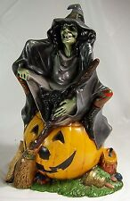 Vintage Witch Sitting on Pumpkin, Pottery, Byron Molds, 1972, Halloween Figurine