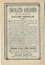 Stampa antica pubblicità CIOCCOLATTO OSMAZOMICO Renoldi 1889 Old antique print