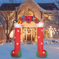 10FT Christmas Inflatable Archway with Gift Boxes and Bear LED Lights Decor Yard