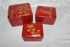 Japanese Wood Lacquer Ware Red Black Gold Set Nesting Boxes Floral Maki-e Japan