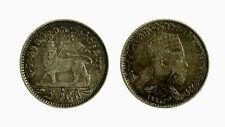 pci3821) Ethiopia 1 gersh silver coin King Menelik II 1889