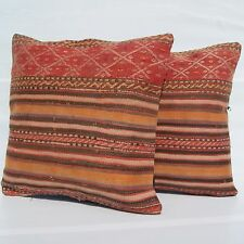 "BOHEMIAN PILLOWS HANDMADE TURKISH KILIM RUG ORANGE SQUARE WOOL AREA RUGS 18""X18"""