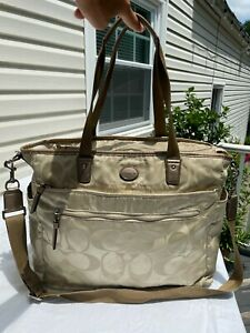Coach Signature C Tan Material & Gold Leather Computer Bag Purse Shoulder Strap