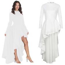 Sexy Womens Long Sleeve High Low Peplum Dress Bodycon Casual Party Club Dress