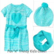 NWT Crazy 8 Girls Size Large 10-12 Heart Sweater Dress Hat Snood Scarf 3-PC SET