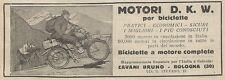 W1614 Biciclette a motore complete D.K.W. - Pubblicità del 1925 - Old advert