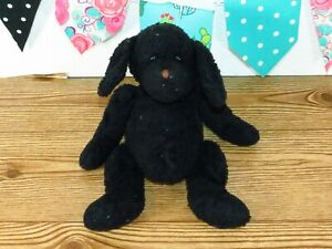 """Animal Alley Black Puppy Dog Shaggy Fur Stuffed Brown Nose Plush Toy 12"""" USED"""