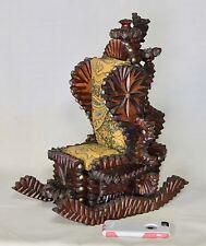 "Antique Tramp Art Mechanical Chair w/Drawer Miniature Wood Furniture 18x11x15"""