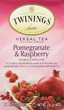 1 BOX TWININGS POMEGRANATE & RASPBERRY HERBAL TEA, CAFFEINE-FREE 20 TEABAGS NEW