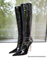 GIANMARCO LORENZI Black Patent Leather Boots gr. EUR 37